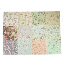 Nouveauté 24feuilles 15x15cm Assortiment de papier de pliage de l'Origami art floral Background Paper la fabrication de cartes Créations en papier Scrapbook bricolage