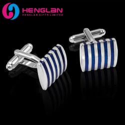 China Factory Großhandel benutzerdefinierte Mode Metall Mann Hemd Manschette Links Zubehör Messing Material Silber Beschmiert Blau Gestreift Enamel Manschettenknöpfe