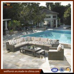 Disposizione dei posti a sedere profonda del sofà del rattan/mobilia esterna/insieme di vimini del sofà
