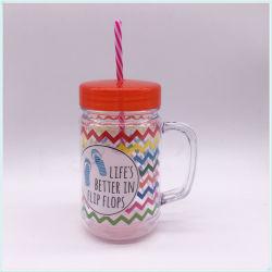 Comercio al por mayor 680ml taza de café de plástico personalizable con la paja