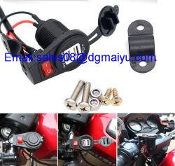 12-24V 2.1A/1um motociclo à prova de tomada de carga USB duplo com o interruptor para telefone celular MP3 GPS Car Carregador de Motos