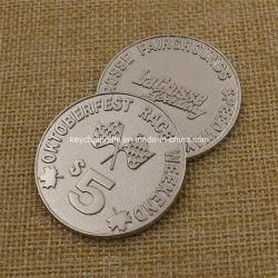 Quatity gran desafío de metal grabado personalizado recuerdos de la moneda de plata