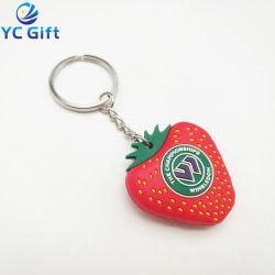 2019 populaires en PVC de mode 3D personnalisés Fruits Key Ring de l'artisanat en caoutchouc coloré touche de fraise Finder caoutchouc gros trousseau pour cadeau souvenir (KC14-C)