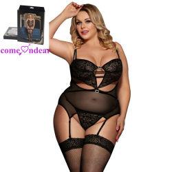 Prix de gros plus taille Livraison rapide des femmes sexy nuisette noir