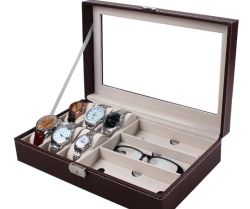 哨舎記憶および表示のためのガラスボックス宝石箱の革ボックス