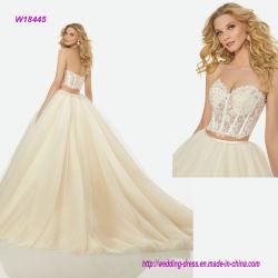 Perlando uma saia do vestido de esfera do corpete de duas do estilo partes de vestido de casamento