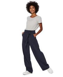 Леди причинных темно-синий ежедневно ремень Pocket моды длинные брюки