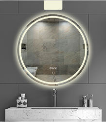 مرآة ماكياج مضاءة مرآة ضوء النهار مرآة فانيتي صغيرة، لاسلكية، شفط قفل مرآة الحمام المحمولة مضاءة