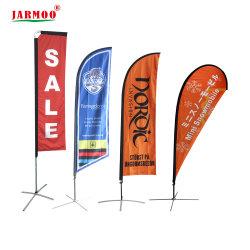 Im Freien preiswerte kundenspezifische windundurchlässige doppelte seitliche Digital-Drucken-Polyester Swooper Teardrop-Feder-Messer-Fliegen-Strand-Markierungsfahnen-Fahnen-Aluminiummarkierungsfahne Pole (JMSTQ)