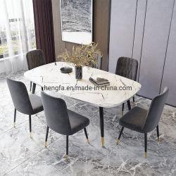 Luz de fábrica pernas banhados a ouro luxuoso restaurante mesa de jantar em mármore de mobiliário