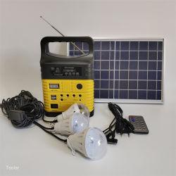 Petit générateur solaire portable léger Mini portable petit générateur solaire 6 V c.c. Système d'énergie solaire domestique 10 W avec radio et ampoules LED Pour éclairage domestique