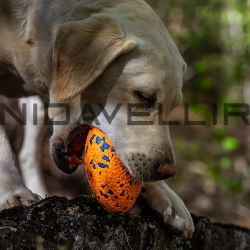 Rubber Toy Rugby voor Bite Pruducts gemaakt van nieuw materiaal E-TPU Burnt Orange-serie
