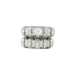 Casal distintivo artificial de anel anel de diamantes Jóias personalizável de prata dourada