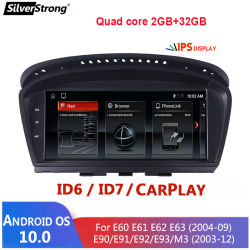 BMW 5용 Silverstrong Android 10 멀티미디어 플레이어 카 라디오 시리즈 E60 E61 E63 E64 E90 E91 E92 525 530 CCC CIC iDrive