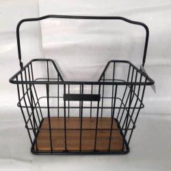 Стальной Popullar велосипед корзину с помощью рукоятки и бамбуковой древесины в нижней части велосипеда детали