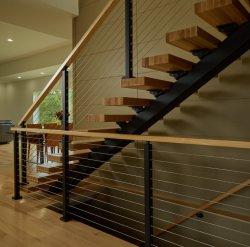 Préfabriqués en bois massif à l'intérieur de la voie de chêne de l'acier escalier rectiligne