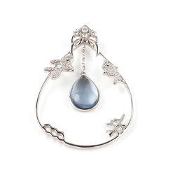Peixes simples com belíssima pedra de Pêra azul moderno 925 Sterling Silver sprinklers pendentes