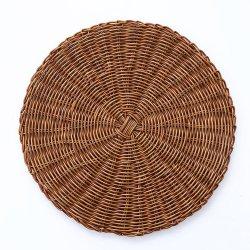 Mimbre redonda de color marrón miel artesanal Placemat Mayorista de plástico para regalo, decoración, el uso diario.