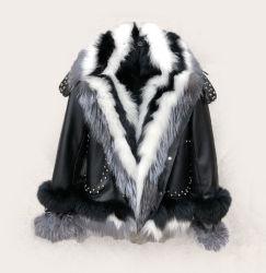 Женские настоящие фур Парка Зимняя теплая подлинная Фокс Фур подкладка Куртка из кожи Parka Fox Fur Collar