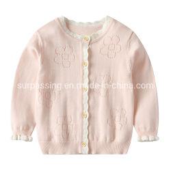 Kinder in der Herbst-Kleidungs-Kind-Blume höhlen kleidet heraus Baby-Hohle-heraus Wolljacke-Hupen-Hülsen-Mantel-Baby-Long-Sleeved Umhüllung Sweate Kleid aus
