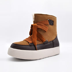 Arco Shoelace Damas zapatos mujer zapatos de cuero botas botas de nieve Calzado casual