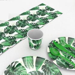 Hojas de palmera hawaiana vajillas vasos desechables de plato de papel toalla boda tropical suministros de parte de eventos de cumpleaños