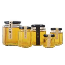 Pot de miel à six pans 250ml 380 ml 500ml 730ml pot de miel de stockage du beurre de miel Jelly Jam épices bocal en verre avec couvercle Twist off