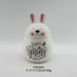 Animais de cerâmica Feliz Caixa de coelho branco da Mola