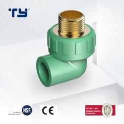 PPR tuyau en plastique des raccords de pression le raccord coudé mâle en laiton pour eau chaude et froide