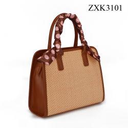 Stroh-Kontrast-PU kundenspezifische Frauen-Beutel-Schaltote-Dame Handbag