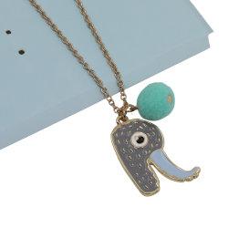 El elefante Letra Rcon encanto Pompom Necklace
