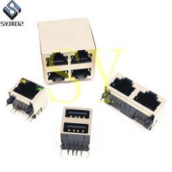 Qualität rechter Verbinder der Schaltkarte-Montierungs-LED des Transformator-RJ45 modularer Jack RJ45