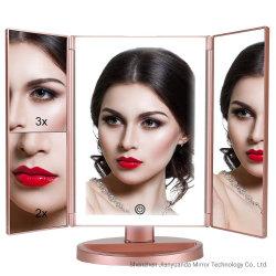 LED de 3 vías Trifold maquillaje tocador Escritorio Espejo de anillo de luz