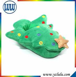 クリスマスのギフトのクリスマスツリーの星の緑の赤ん坊はプラシ天の綿の寝室の靴を家庭でからかう