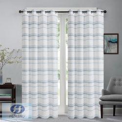 Polyester-gestreifter Fenster-Gewebe-Vorhang mit Chrysantheme-Garnen in der einschlagseite - #2031