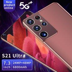 الإصدار العالمي S21+ Ultra 7.3 بوصة 5g الهواتف الذكية 16GB+512GB قم بإلغاء قفل Android Phone 24MP+48MP 4G Network Mobilepone