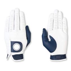 Witte en marineblauwe lamsine Golf Handschoenen