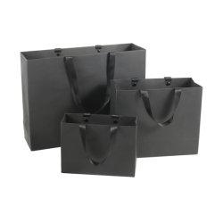 포장용 맞춤 럭셔리 재활용 블랙 페이퍼 쇼핑 백 핸들 포함