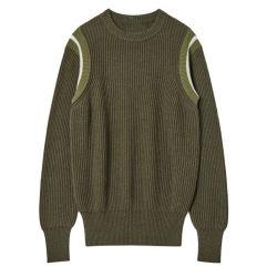 100% katoen Mannen Pullover contrast Kleur Armhole Striped Crewneck Loose Knitwear