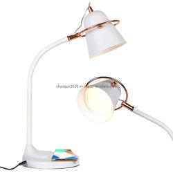 Lampe de bureau à LED de charge sans fil à intensité variable de contrôle tactile, Port de chargement USB Lunettes de protection lampe de lecture multifonction pour téléphone mobile de Charge de lampe de bureau
