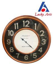 Laiton antique Horloge murale avec le verre