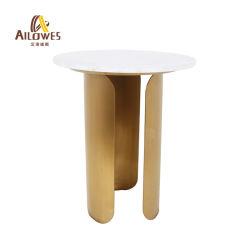 Meubles de salle à manger en acier inoxydable haut de marbre or café thé Set de table latéral
