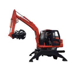 Tipo mobile arraffone dell'escavatore della rotella di legno della macchina della gru a benna del legname del caricatore