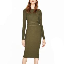 Городе моды женщин скромные вырежьте длинной втулки MIDI порванный жгут платья