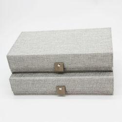 Qualitäts-Form-Sammellederner rechteckiger lederner Geschenk-Tee-Leinenkasten