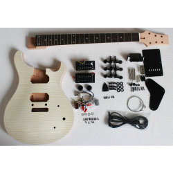Flamme/steppte oberster unfertiger DIY Installationssatz-gesetzte Fotorezeptor-Gitarre des Ahornholz-