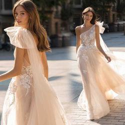 シャンペンBertaの花嫁衣装のレースのキャミソール1の肩のウェディングドレス2020 E1319