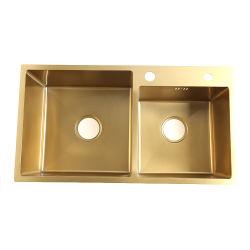 Taça dupla dourada Universal comercial Industrial pias em aço inoxidável