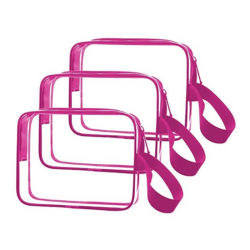PVC装飾的な袋は、卸し売り正方形のジップロック式の明確な透過プラスチックエヴァのピンクの洗面用品の袋の構成のハンドルが付いている装飾的な包装のギフト浜袋をカスタマイズする