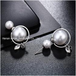 Commerce de gros goujons Beads Pearl recto-verso charmant 925 Silver Earrings Bijoux